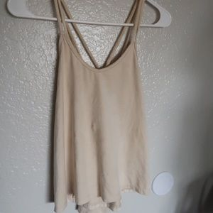 Cream suede tank top with crossed straps